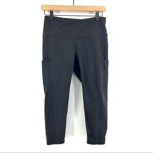 Prana Black Bora Capri Leggings with Side Pockets